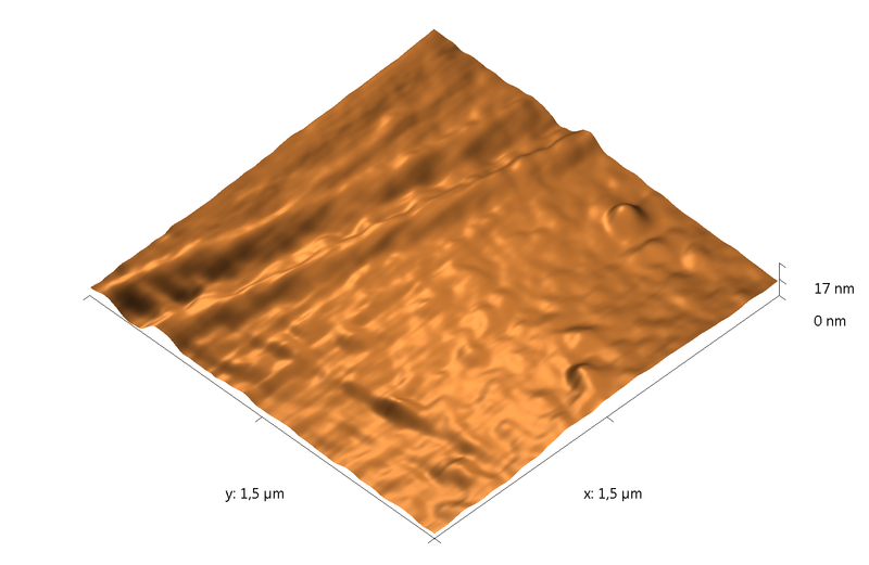 PETE film. Plasma etching - 40 min. AFM image. Simi-contact mode. Topography 3D.