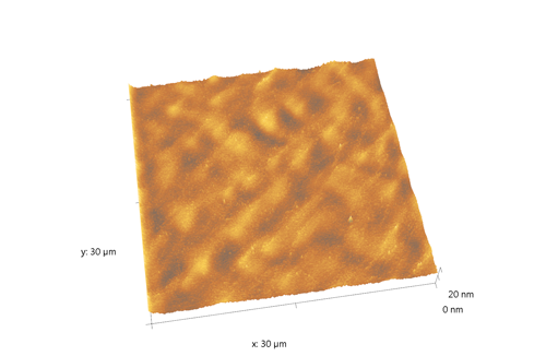Indium phosphide (InP) on sapphire surface. AFM image. Semi-contact mode. Topography 3D.